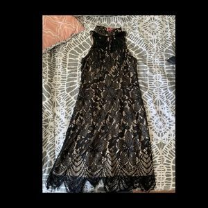 Black and beige Lace Flapper style Dress